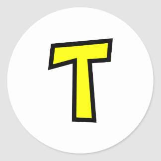 Monogram Letter T Classic Round Sticker