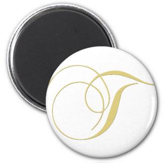Monogram Letter T Golden Single 2 Inch Round Magnet