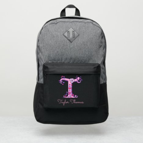 Monogram letter T hearts flower custom name Port Authority® Backpack