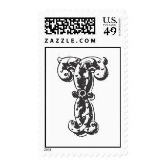 Monogram Letter T in Black Postage Stamps