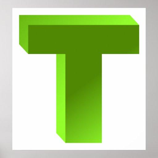 Monogram Letter T Poster