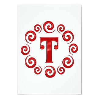 Monogram Letter T Red Custom Invite