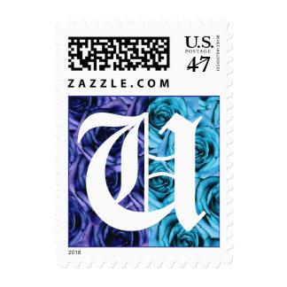 Monogram Letter U Blue Roses Stamp