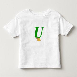 Monogram letter U brian the snail toddler t-shirt