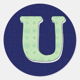Monogram Letter U Classic Round Sticker