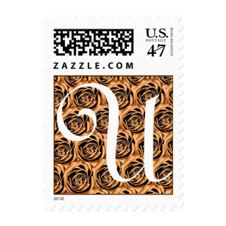 Monogram Letter U Gold Roses Stamp