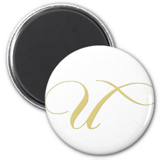 Monogram Letter U Golden Single 2 Inch Round Magnet