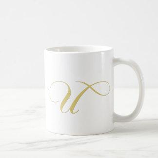 Monogram Letter U Golden Single Coffee Mug