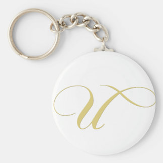 Monogram Letter U Golden Single Keychain