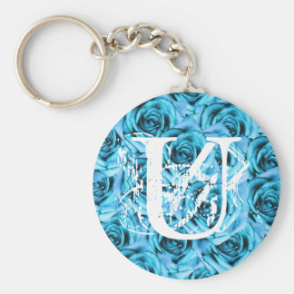Monogram Letter U Ice Blue Roses Keychain