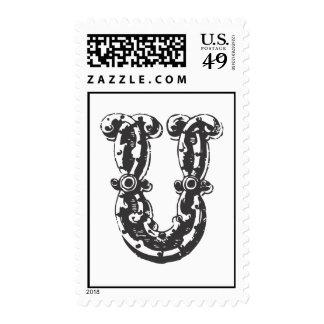 Monogram Letter U in Black Postage Stamps