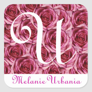 Monogram Letter U Pink Roses Sticker