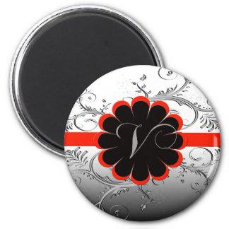 Monogram Letter V 2 Inch Round Magnet