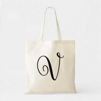 """Monogram Letter """"V"""" Budget Tote-Canvas Tote Bag"""