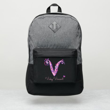 Monogram letter V hearts flower custom name Port Authority® Backpack