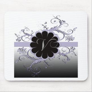 Monogram Letter V Violet Mouse Pad