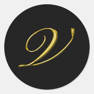 Monogram Letter V Wedding Envelope Seal Classic Round Sticker