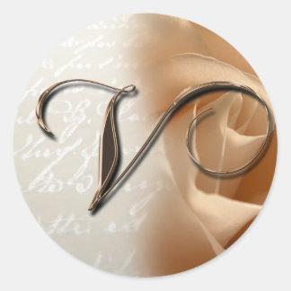 Monogram Letter V Wedding Envelope Seal Stickers