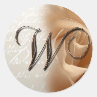 Monogram Letter W 2008 Wedding Envelope Sticker