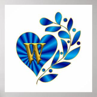 Monogram Letter W Blue Heart Poster