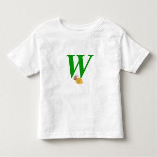 Monogram letter W brian the snail toddler t-shirt