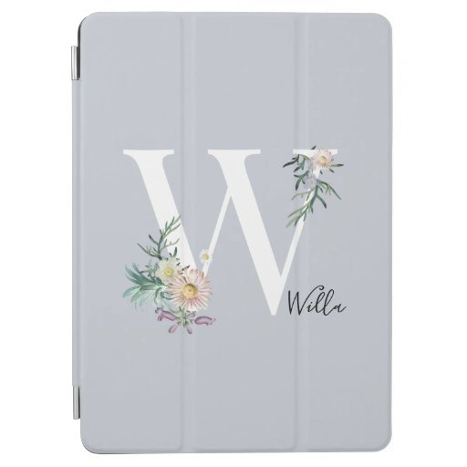 Monogram Letter W Floral Personalized iPad Air Cover