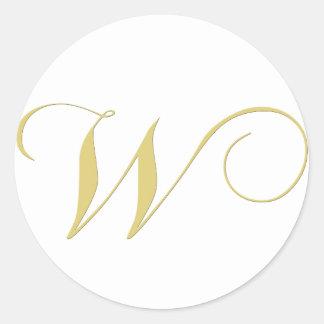 Monogram Letter W Golden Single Classic Round Sticker