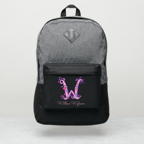 Monogram letter W hearts flower custom name Port Authority® Backpack