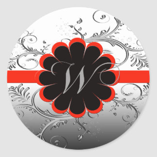 Monogram Letter W Red Classic Round Sticker