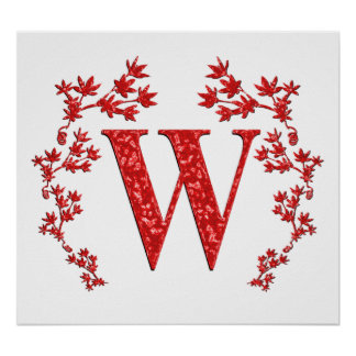 Monogram Letter W Red Leaves Poster