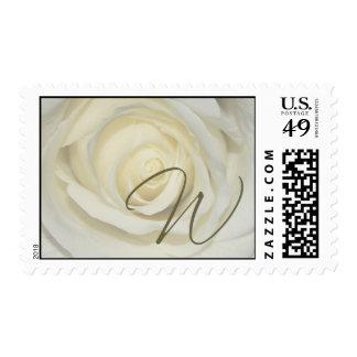 Monogram - Letter W - Soft cream rose Postage