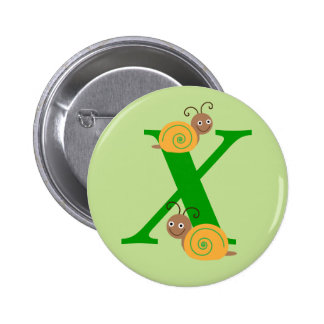 Monogram letter X brian the snail kids button, pin