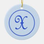 Monogram letter X hanging ornament / pendant