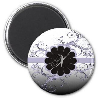 Monogram Letter X Violet 2 Inch Round Magnet