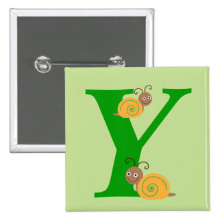 Monogram letter Y brian the snail kids button, pin