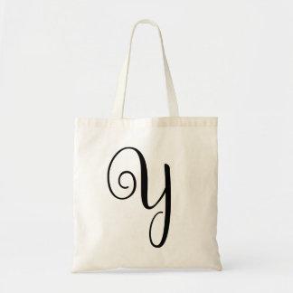 "Monogram Letter ""Y"" Budget Tote-Canvas Tote Bag"