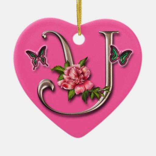 MONOGRAM LETTER Y - HEART ORNAMENT | Zazzle