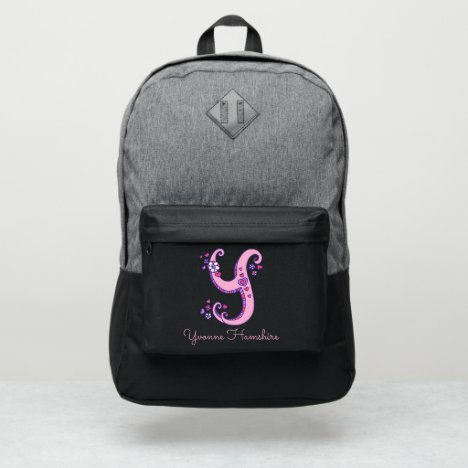 Monogram letter Y hearts flower custom name Port Authority® Backpack