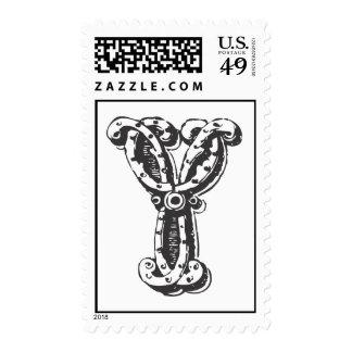 Monogram Letter Y in Black Stamps