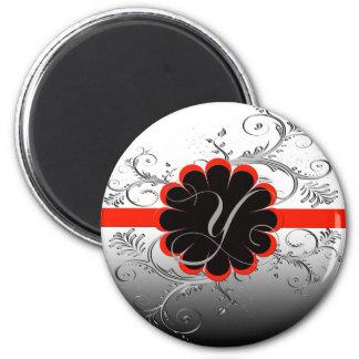 Monogram Letter Y Red 2 Inch Round Magnet