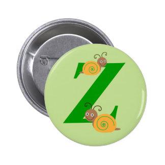 Monogram letter Z brian the snail kids button, pin