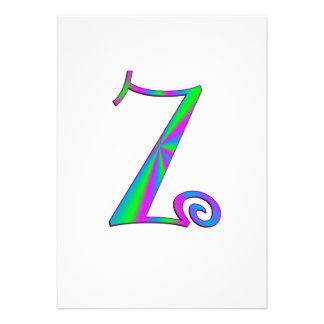 Monogram Letter Z Fun Custom Announcement