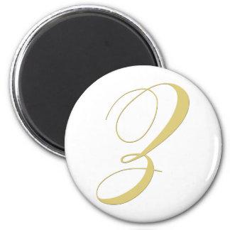 Monogram Letter Z Golden Single 2 Inch Round Magnet