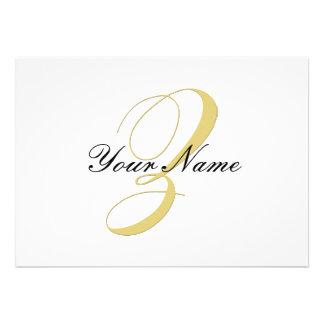 Monogram Letter Z  Golden Single Personalized Announcement