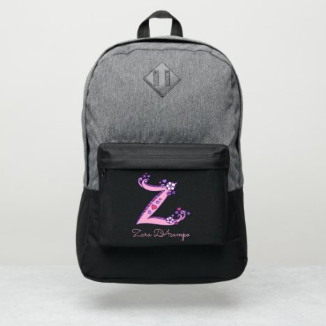 Monogram letter Z hearts flower custom name Port Authority® Backpack