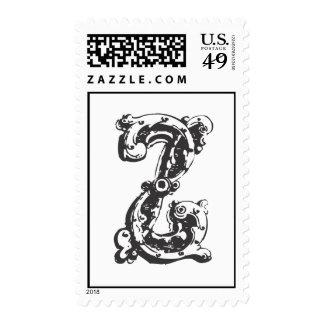 Monogram Letter Z in Black Stamps