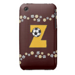 Monogram Letter Z in Soccer Gold iPhone 3 Covers