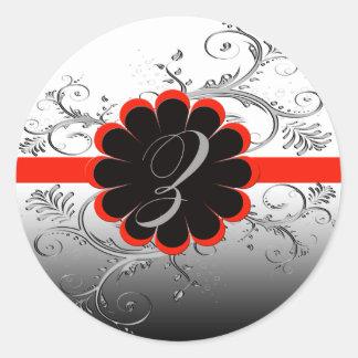 Monogram Letter Z Red Classic Round Sticker