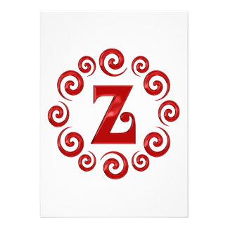 Monogram Letter Z Red Invitations