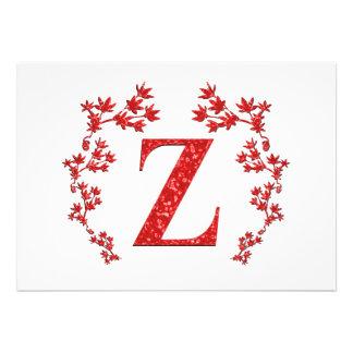 Monogram Letter Z Red Leaves Personalized Invite